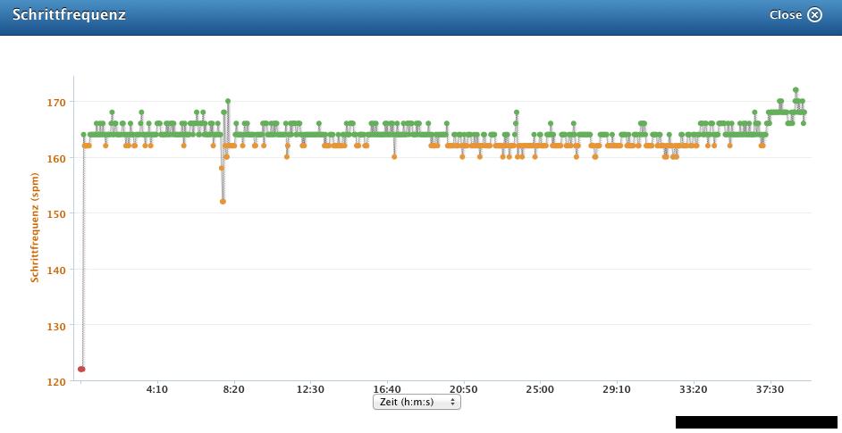 Bildschirmfoto Schrittfrequenz fenix2